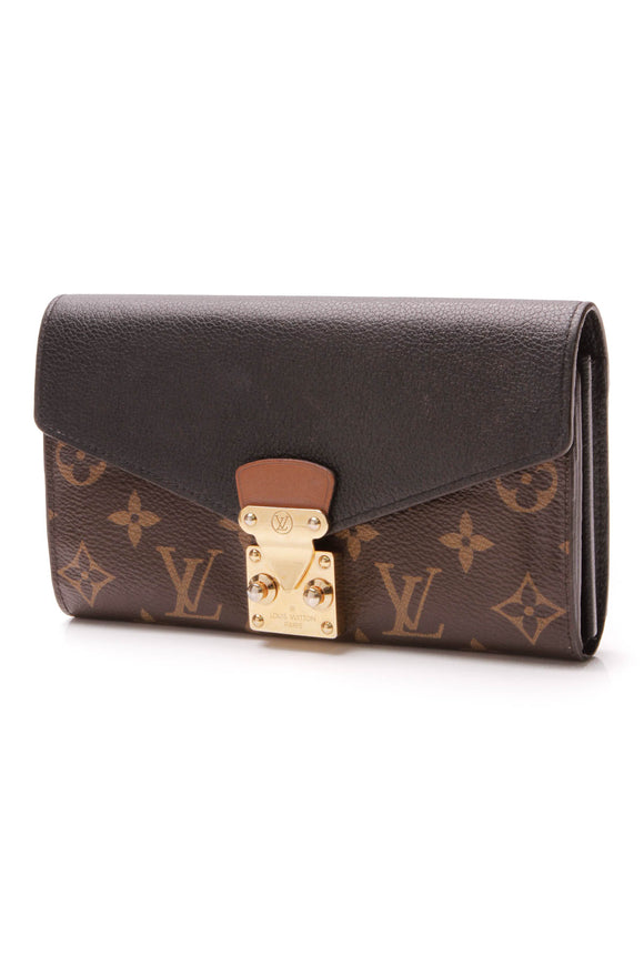 Louis Vuitton Pallas Wallet Black Monogram Brown
