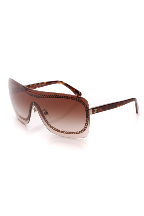 Chanel Rimless Shield Sunglasses 4243 Dark Tortoise