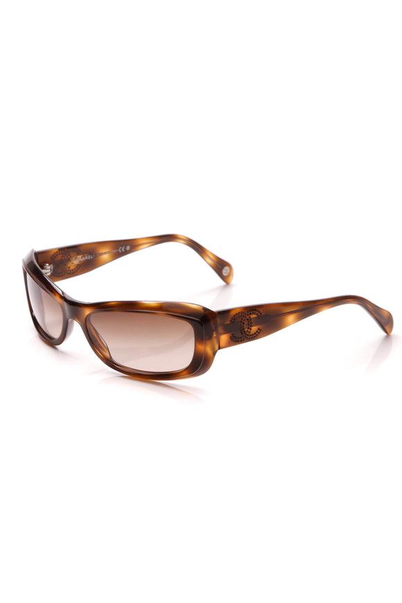 Chanel Crystal CC Sunglasses 5095 Tortoise Brown