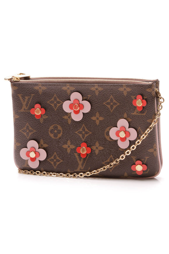 Louis Vuitton Blooming Flowers Double Zip Pochette Bag Monogram Brown