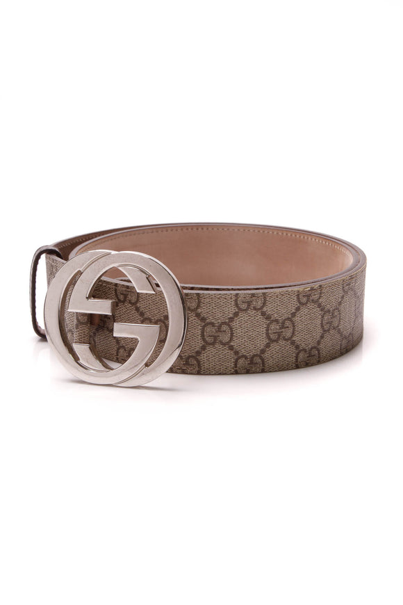 Gucci Interlocking G Buckle Belt Supreme Canvas Size 34 Beige