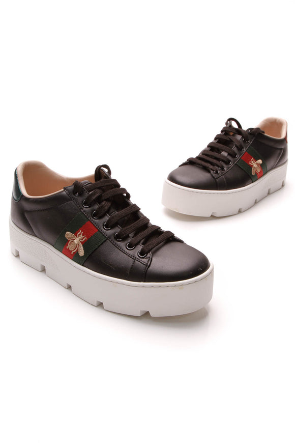 Gucci Ace Platform Sneakers Black Size 35.5