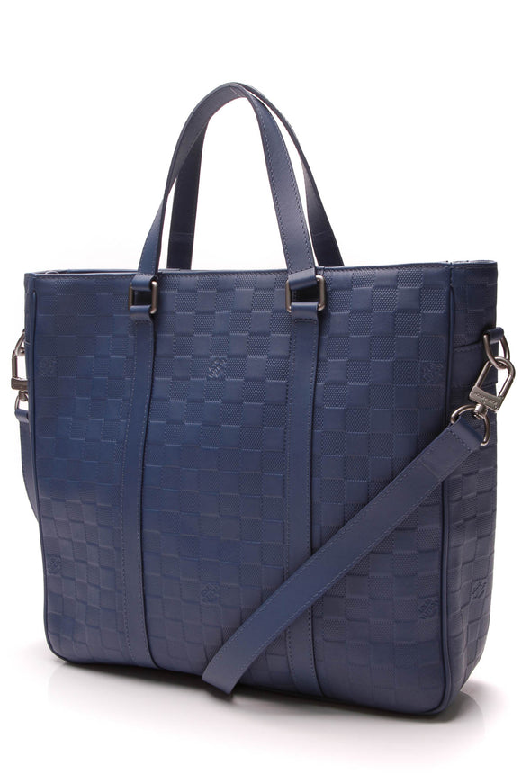 Louis Vuitton Tadao PM Zip Tote Bag Blue Damier Infini
