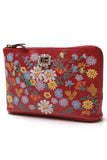 Gucci Embroidered Picamo Fiori Zip Wallet Clutch Red