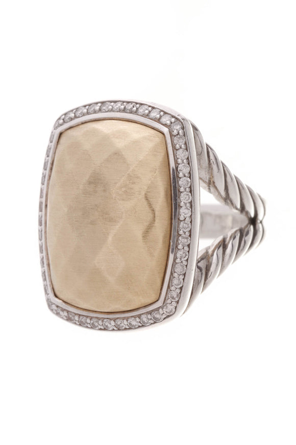 David Yurman Diamond Albion Ring Silver Gold Size 6