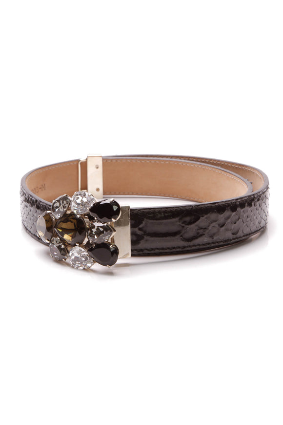 Oscar de la Renta Embossed Jeweled Belt Black