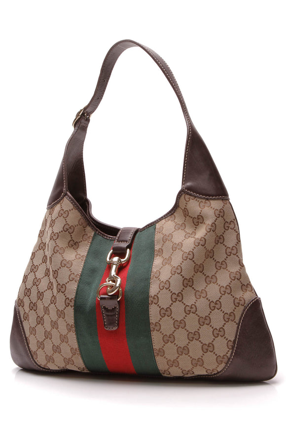 Gucci Jackie O' Bouvier Large Hobo Bag Signature Canvas Brown