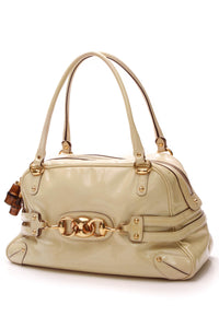 Gucci Bamboo Wave Large Boston Bag Beige Patent