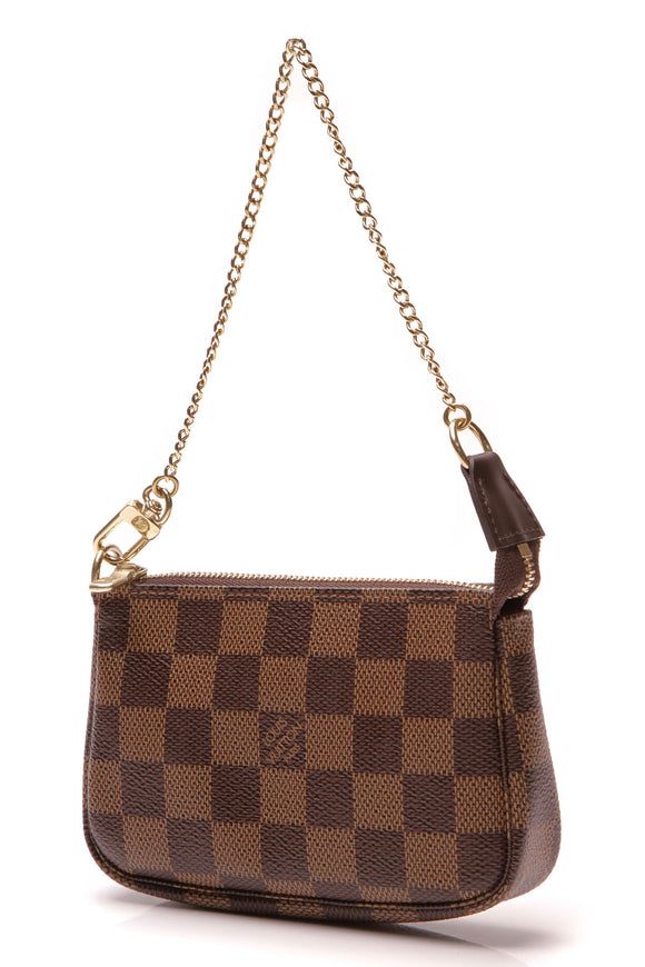 Louis Vuitton Mini Pochette Accessories Bag Damier Ebene Brown