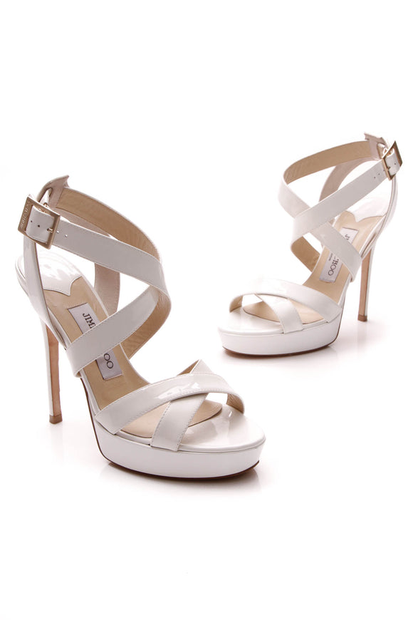 Jimmy Choo Vamp Platform Heeled Sandals White Size 36