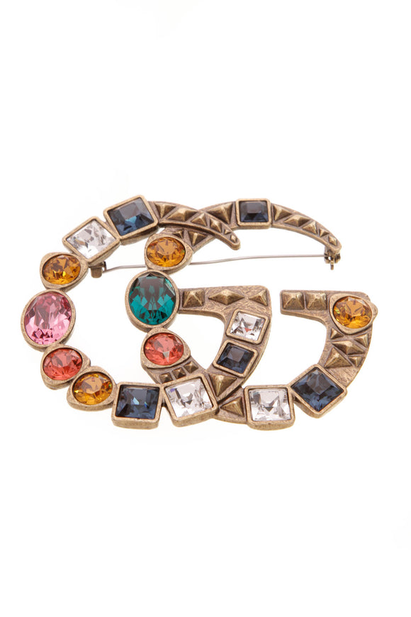 Gucci Crystal Embellished GG Brooch Aged Gold