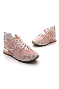 Louis Vuitton Run Away Hidden Heel Sneakers Pink Damier Azur Size 39.5