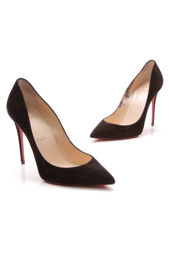 Christian Louboutin Pigalle 100 Pumps Black Suede Size 38