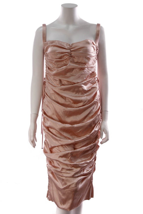 Dolce and Gabbana Ruched Satin Lace Up Dress Pink Size 50