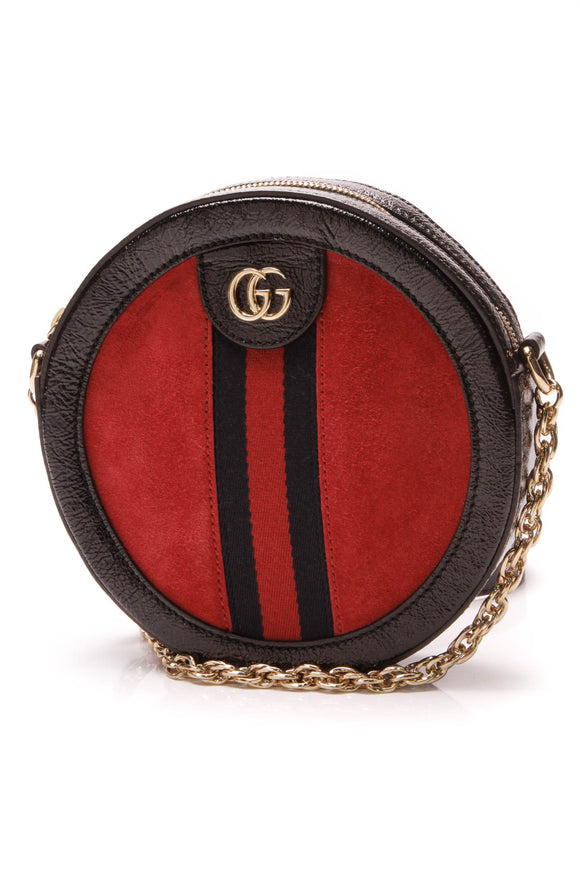 Gucci Ophidia Mini Round Bag Red Black