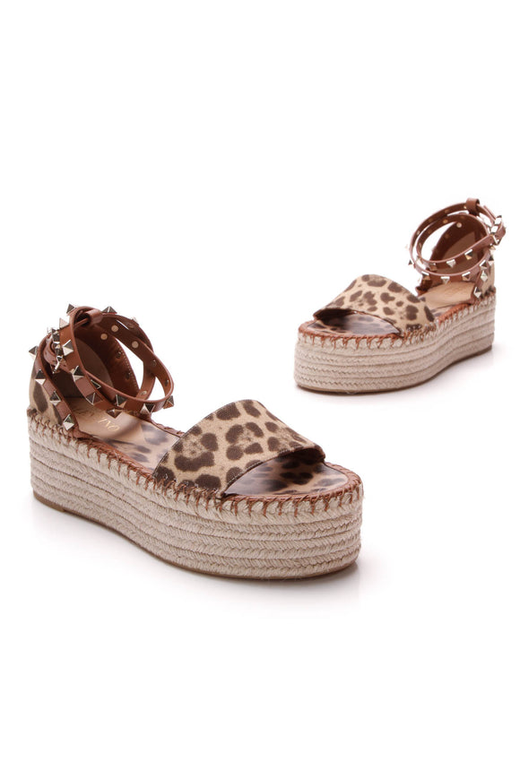 Valentino Leopard Double Espadrille Rockstud Sandals Brown Size 36
