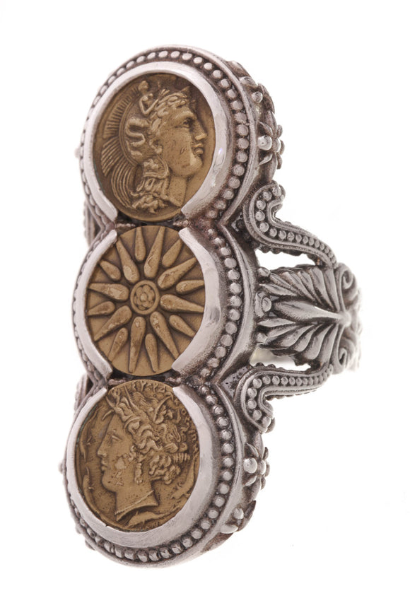 Konstantino Triple Coin Ring Silver Bronze Size 7