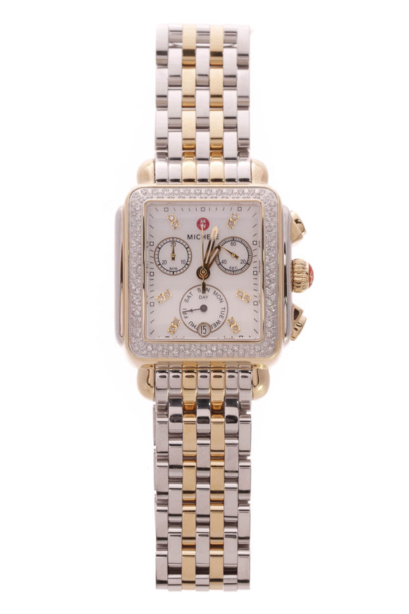 Michele Diamond Deco Chronograph Watch Steel
