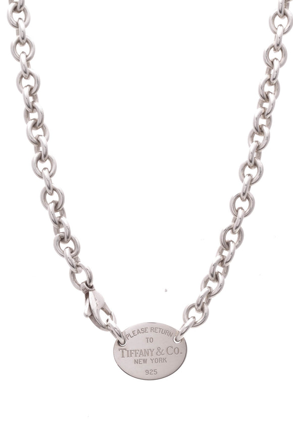 Louis Vuitton RTT Return to Tiffany Oval Tag Necklace Silver
