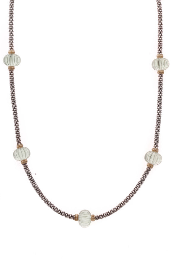 Lagos Forever 5 Melon Bead Rope Necklace Silver Gold