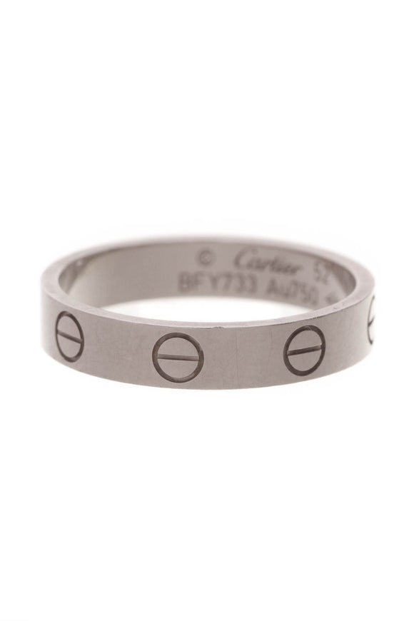 Cartier 3.5mm Love Band Ring White Gold Size 6