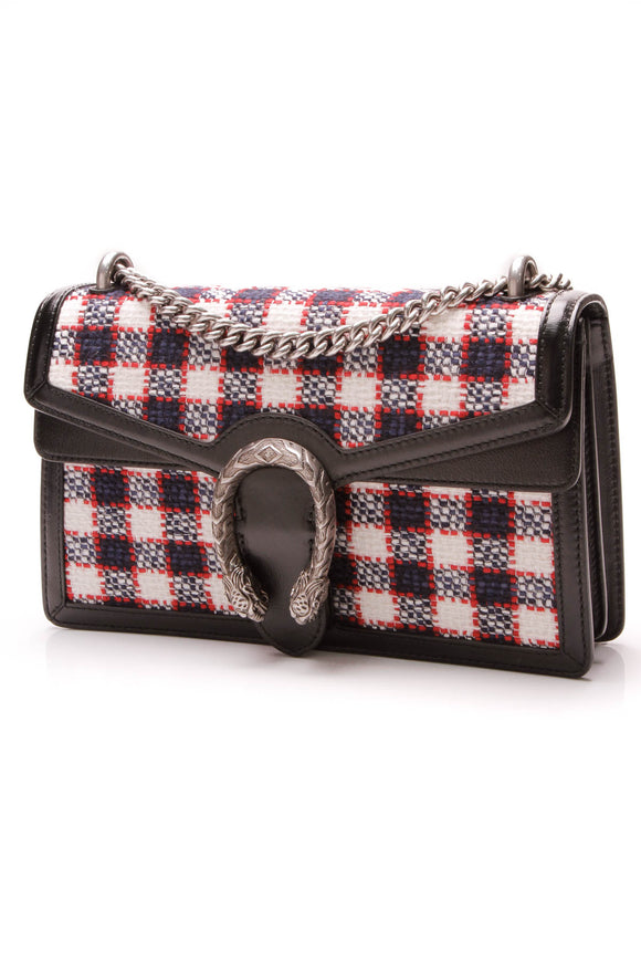 Gucci Tweed Check Dionysus Small Shoulder Bag Multicolor