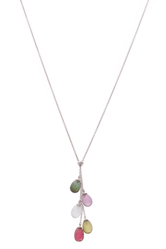 Tiffany & Co. Rainbow Drop 5-Stone Necklace White Gold