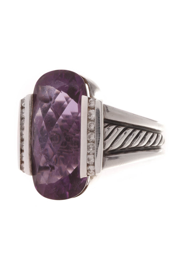 David Yurman Amethyst & Diamond Deco Ring Silver Size 6