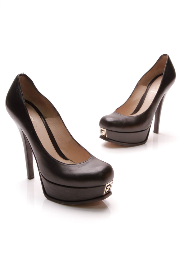 Fendi Fendista Double Platform Pumps Black Size 39