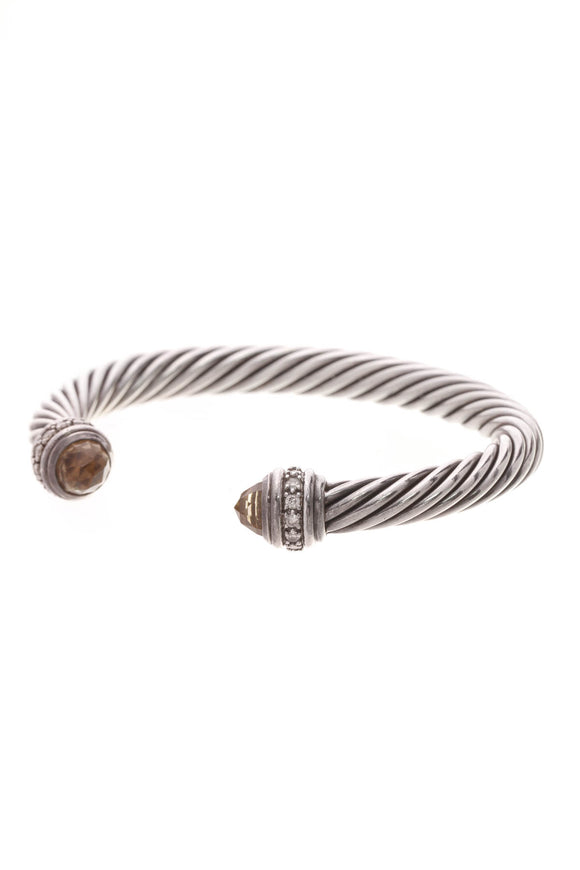 David Yurman 7mm Diamond & Smoky Quartz Cable Bracelet Silver