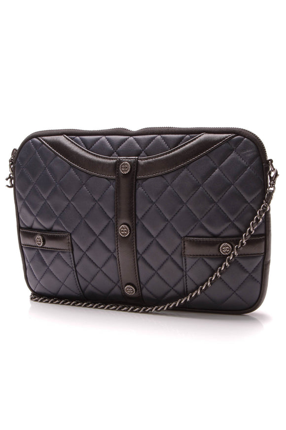 Chanel Girl Clutch Crossbody Bag Navy Black