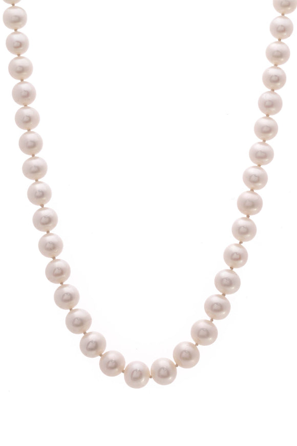 9mm Pearl Diamond Necklace White Gold
