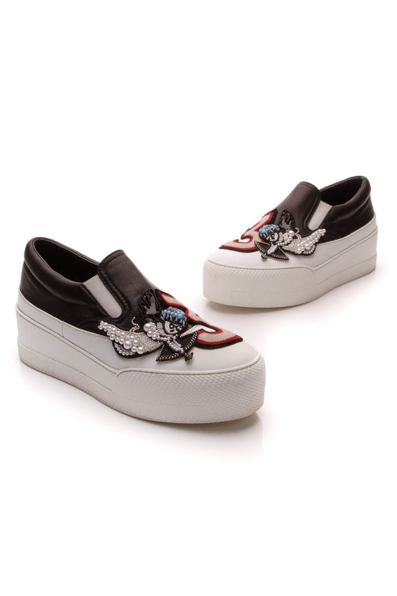 Miu Miu Cupid 3 Platform Sneakers White Black Size 38