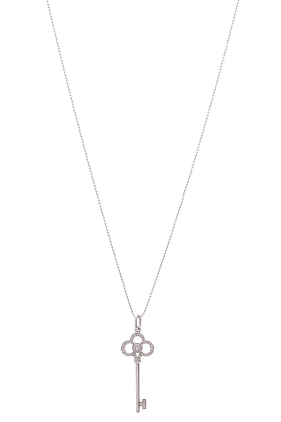 Tiffany & Co. Diamond Crown Key Pendant Necklace White Gold