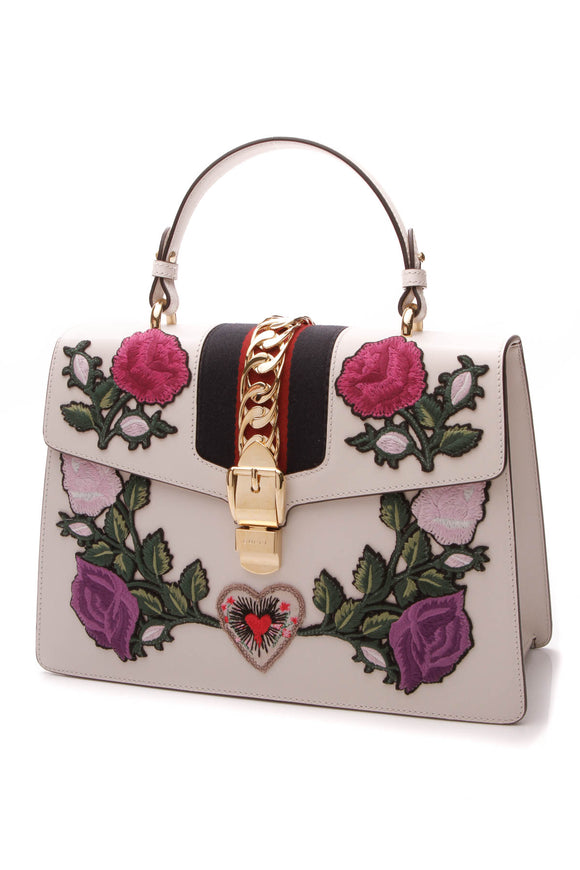 Gucci Embroidered Medium Sylvie Bag - White