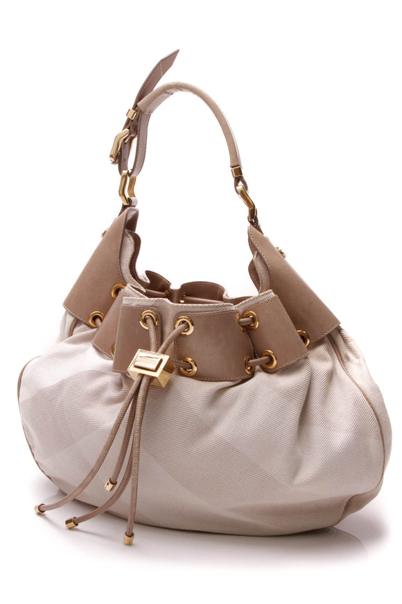 Burberry Warrior Medium Hobo Bag - Beige Nova Check