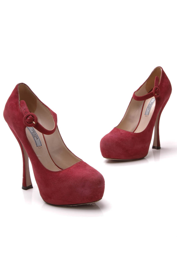 Prada Mary Jane Pumps - Burgundy Size 37.5