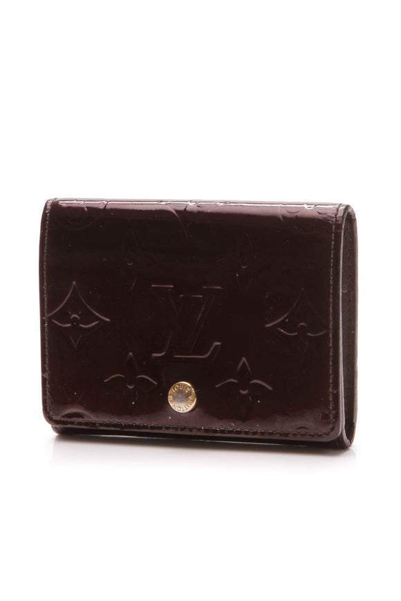 Louis Vuitton Vernis Enveloppe Cartes de Visite Card Case - Amarante