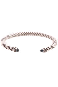 David Yurman Diamond & Blue Topaz 5mm Classic Cable Bracelet - Silver