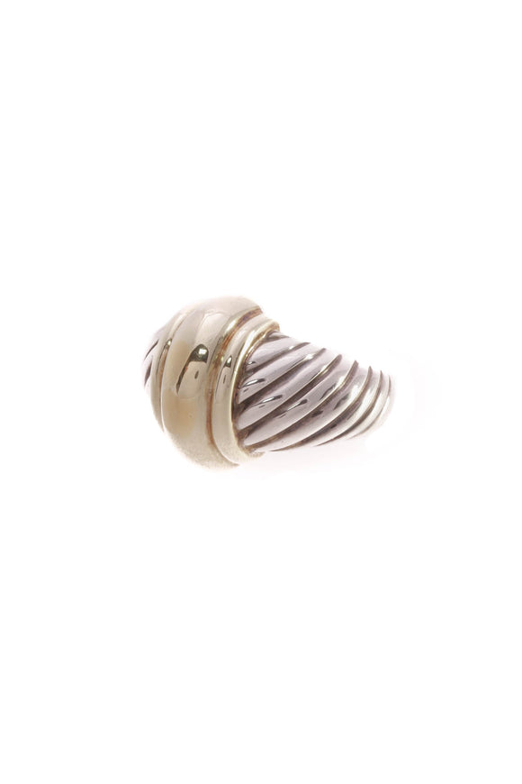 David Yurman Dome Cable Ring - Silver/Gold Size 5.5