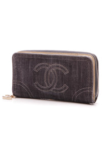 Chanel CC Zip Around Wallet - Blue Denim