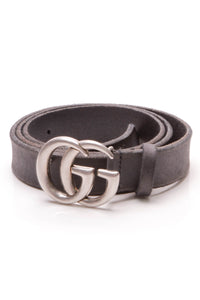 Gucci Marmont Slim Belt - Navy Size 40