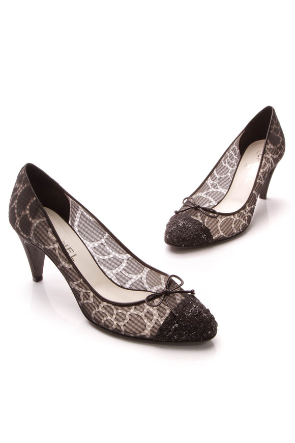 Chanel Tweed & Mesh Cap-Toe Pumps - Black Size 39.5
