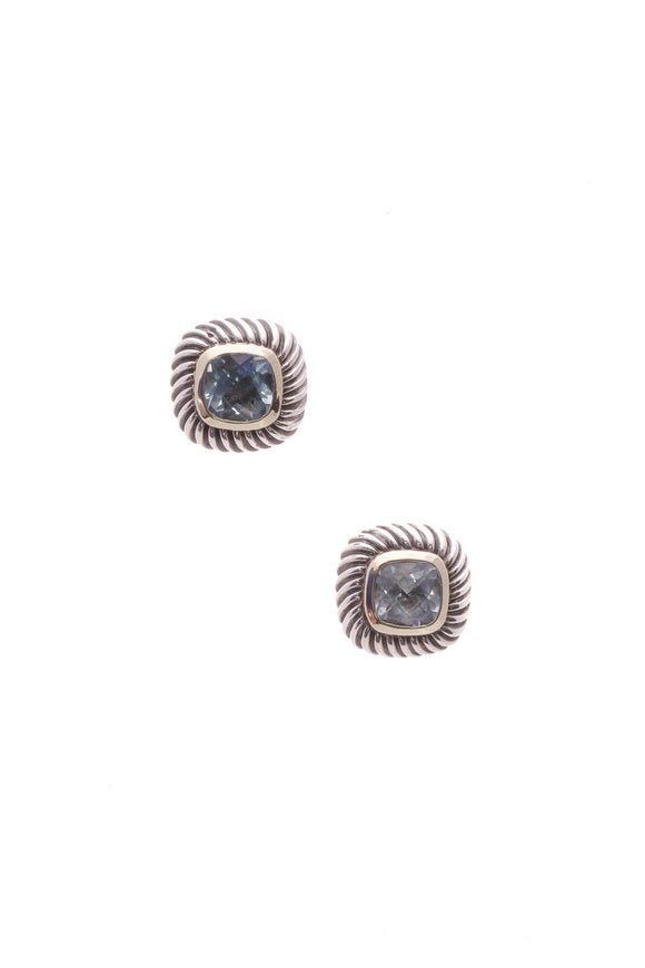 David Yurman Blue Topaz Petite Albion Earrings - Silver/Gold