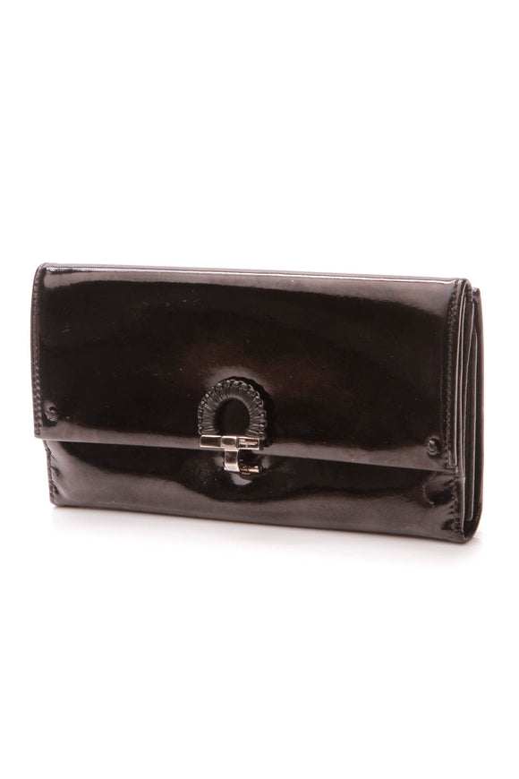 Ferragamo Gancini Flap Long Wallet - Black