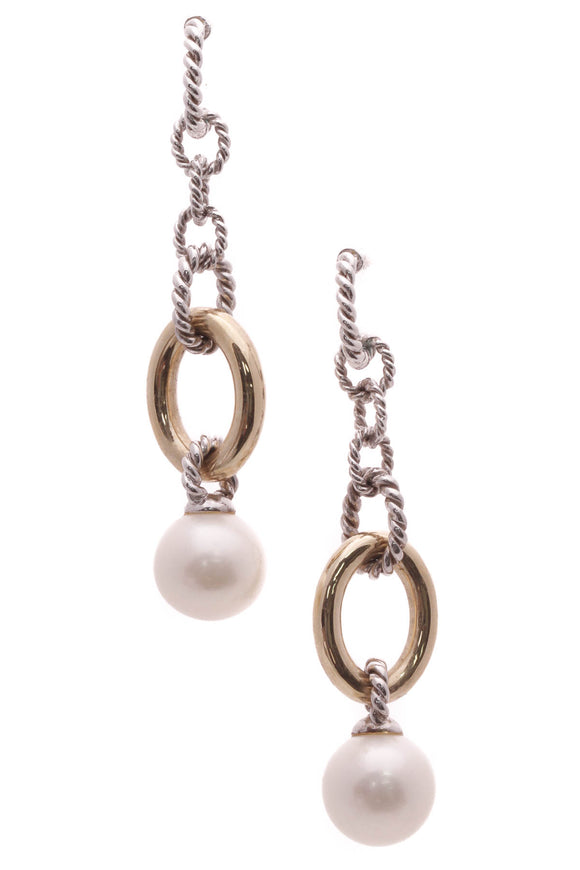 Iridesse Pearl Chain Link Drop Earrings - Silver/Gold
