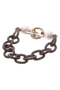 Iridesse Pearl Chain Link Toggle Bracelet - Silver/Gold