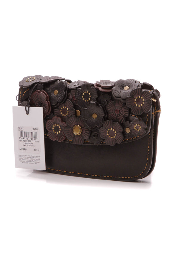 Coach Tea Rose Applique Clutch Bag - Black