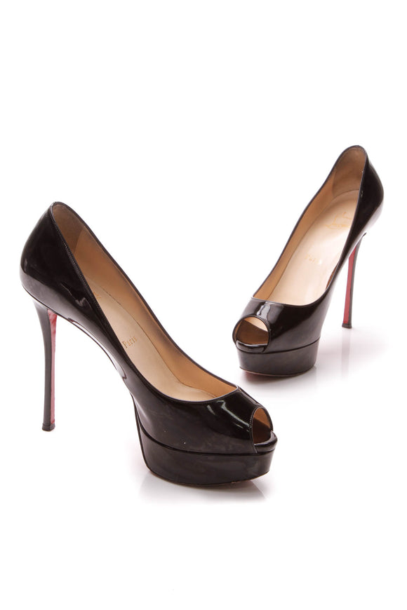 Louboutin Fetish 130 Peep-Toe Pumps - Black Patent Size 38