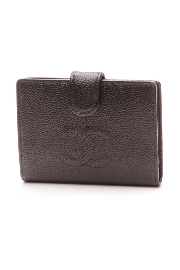 Chanel Timeless CC Compact French Wallet - Black Caviar